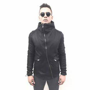Geometric Leather High Collar Men's Coat