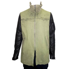 Giorgio Brato Leather Sleeve Military Jacket