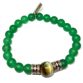 Green Onyx, Silver, Crystals, & Tiger's Eye Bracelet