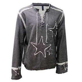 Grey Embroidered Star Lace Up Shirt