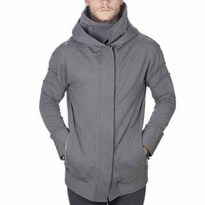 Grey Hooded Moto Jacket