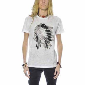 Hand Printed Single Color Native American Chief T-Shirt