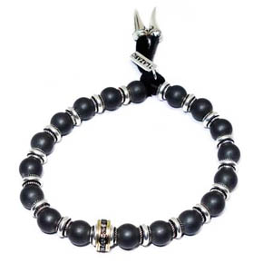 Hematite, Silver & Gold Leather Bracelet