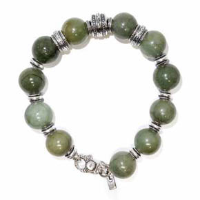 Jade & Silver Beaded Men's Bracelet