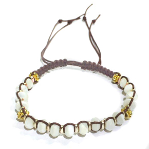 White Agate & Brass on Thread Bracelet