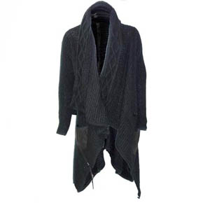 Kmrii Black Woven Mohair and Leather Cardigan