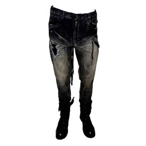 KMRii Crushed Slim Black Denim Jeans