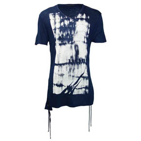 Kmrii Limited Edition Blue and White Short Sleeve Side Shirring Shirt