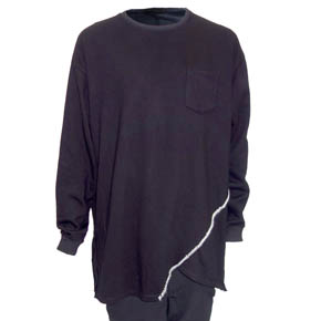 Black KMRii Slash Mohair Hand Stitched Long Sleeve Pullover