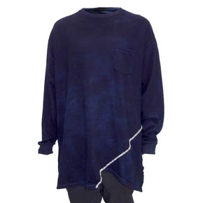 Blue KMRii Slash Mohair Hand Stitched Long Sleeve Pullover