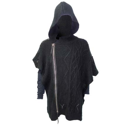 Kmrii Woven Mohair & Leather Zip-Up Poncho