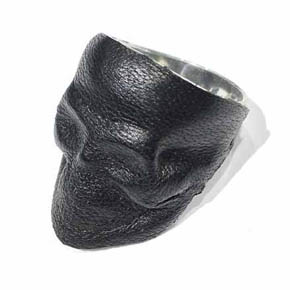Lamb Skin Covered Silver Skull Men's Ring