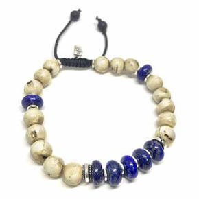 Lapis & Conch Shell Beaded Bracelet