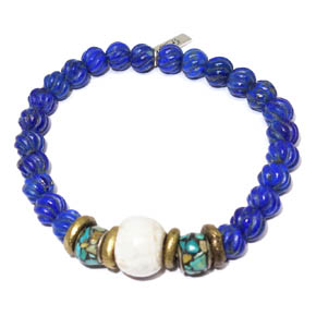 Lapis, Conch Shell, Turquoise & Silver Bracelet