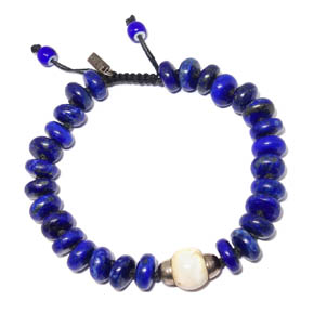 Lapis, Sterling Silver, Ceramic, & Conch Shell Bracelet