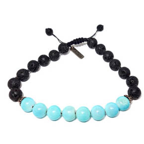 Lava Bead & Peruvian Opal Adjustable Bracelet