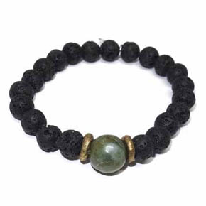 Lava, Brass & Jade Beaded Bracelet