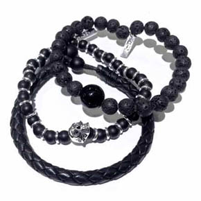 Lava, Leather & Onyx Men's Stacked Bracelets