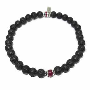 Lava & Ruby Men's Beaded Bracelet