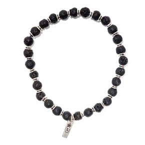 Lava & Silver Men's Beaded Bracelet