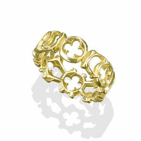 18K Gold Gothic Window Ring