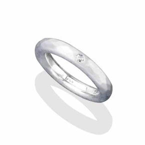 Silver & White Diamond Ring