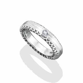 Silver With Round Diamond Band
