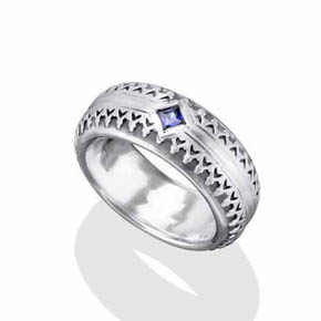 Silver With Sapphire Band