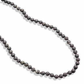4mm Lava Bead & Sterling Silver Necklace