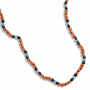 Orange, Black & Blue Ceramic Bead Necklace