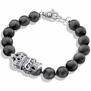 Black Onyx Bead & Silver Crown Skull Bracelet