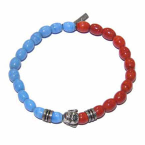 Blue & Red Ceramic Bead Silver Buddha Men's Bracelet