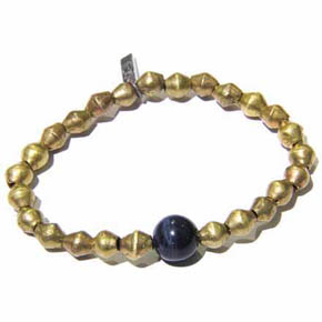 Blue Tiger's Eye & Brass Bead Men's Bracelet