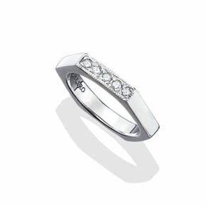 White Diamond Silver Bolt Ring