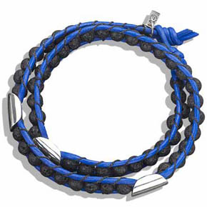 Lava Bead & Silver Double Wrap Blue Leather Bracelet