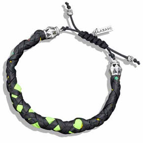 Silver, Black & Multi Color Braided Leather Bracelet
