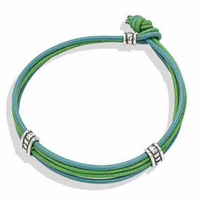 Silver Rondelle On Turquoise & Green Leather Bracelet