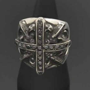 Black Diamond Cross Shield Ring