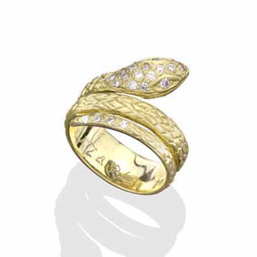 White Diamonds & 18K Gold Coiled Snake Ring