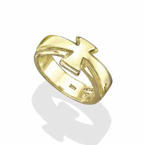 18K Gold Cross Ring