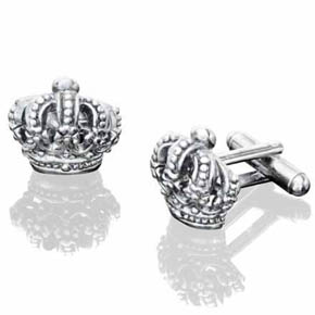 Black Rhodium Brass Crown Cufflinks