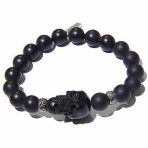 Diamond, Onyx Bead & Jet Skull Men's Bracelet