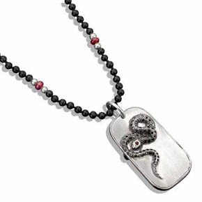 Black Diamond Snake Dog Tag On Black Onyx & Ruby Bead Necklace