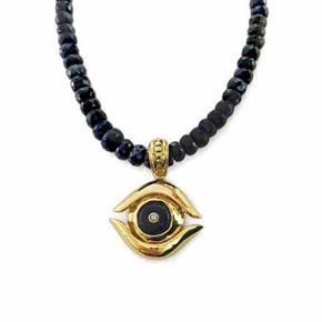 Gold & Sapphire Evil Eye Men's Necklace