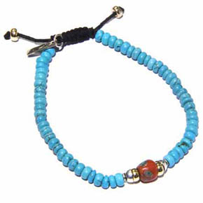 Gold, Silver & Turquoise Coral Men's Bracelet
