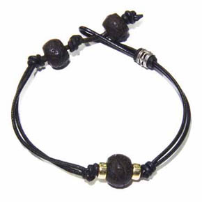 Gold & Wooden Tibetan Prayer Bead Leather Men's Bracelet