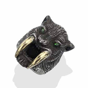 Tzavorite Eyes on 18Kt Gold & Silver Sabertooth Tiger Ring