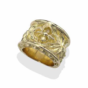 18Kt Gold Men's Gothic Biker Ring