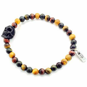 6mm Tiger's Eye & Carved Jet Skull Bracelet