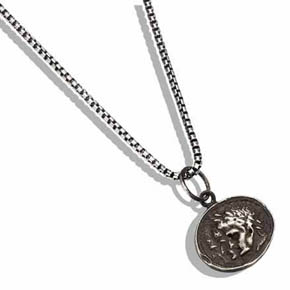 Ancient Silver Coin Pendant on Box Chain